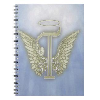 Monograma del ángel de la letra T Libreta
