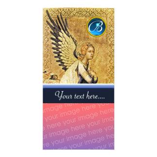 MONOGRAMA del ÁNGEL del ANUNCIO, zafiro azul Tarjeta Fotográfica Personalizada