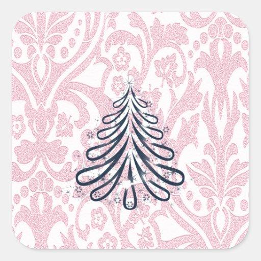 Monograma del árbol de navidad del damasco del pegatina cuadrada