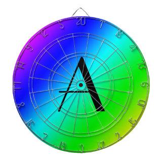 Monograma del arco iris tablero dardos