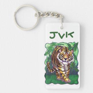 Monograma del arte del tigre llavero rectangular acrílico a doble cara