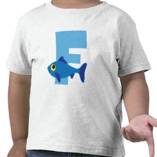 Monograma del azul de los pescados de F Camiseta
