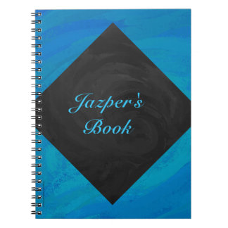 Monograma del azul y del negro de océano notebook