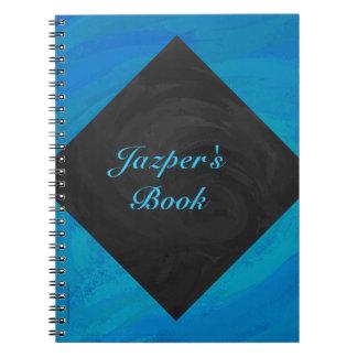 Monograma del azul y del negro de océano spiral notebooks