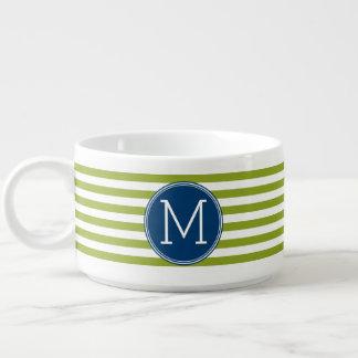 Monograma del azul y del verde del modelo rayado tazón