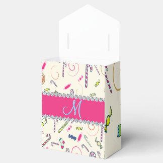 Monograma del bastón de caramelo del diamante de caja para regalos