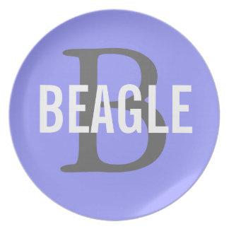 Monograma del beagle plato de comida