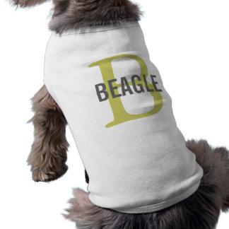 Monograma del beagle camiseta de mascota