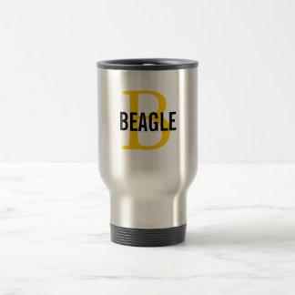Monograma del beagle taza de viaje de acero inoxidable