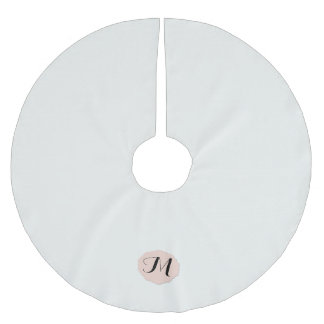 Monograma del blanco puro y del camafeo falda para arbol de navidad de poliéster