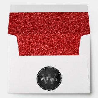 Monograma del boda con el modelo rojo de rubíes de sobres