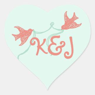 Monograma del boda de la capilla del coral y de la calcomanía corazón