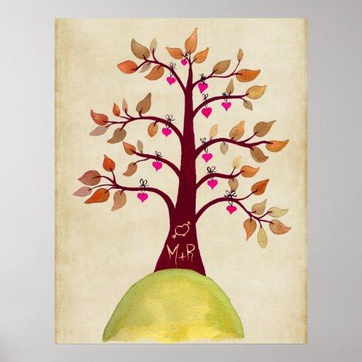 Monograma del boda del árbol del otoño de la caída póster