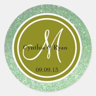 Monograma del boda del brillo verde y del verde etiquetas redondas