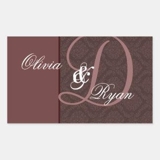Monograma del boda del damasco del CHOCOLATE Pegatina Rectangular
