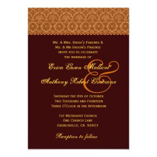 """Monograma del boda del damasco del vintage del oro invitación 5"""" x 7"""""""