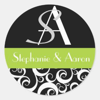Monograma del boda del damasco en negro y verde pegatinas redondas