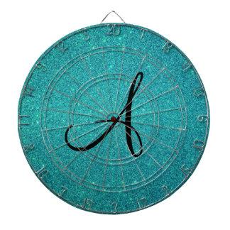 Monograma del brillo de la turquesa tablero dardos