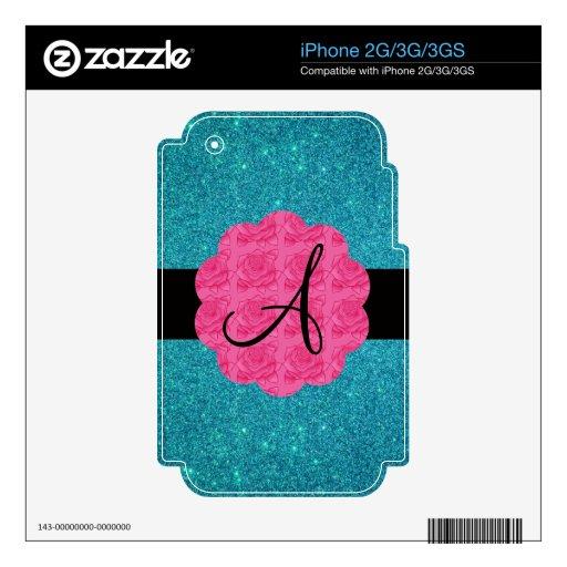 Monograma del brillo de la turquesa iPhone 3G skins