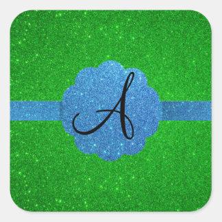 Monograma del brillo del azul y del verde pegatina cuadrada