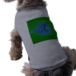 Monograma del brillo del azul y del verde ropa de perro