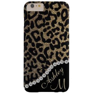 Monograma del brillo del diamante y del leopardo funda barely there iPhone 6 plus