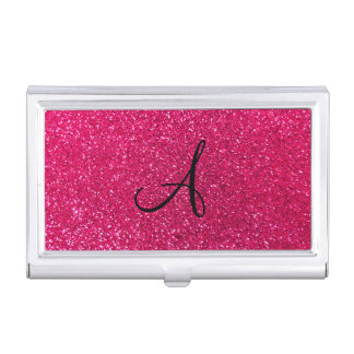 Monograma del brillo del rosa color de rosa cajas de tarjetas de negocios