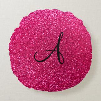 Monograma del brillo del rosa color de rosa cojín redondo