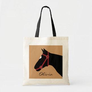 Monograma del caballo bolsa tela barata