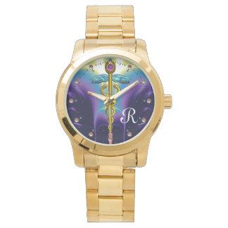 MONOGRAMA del CADUCEO del ORO, azul púrpura Relojes De Mano