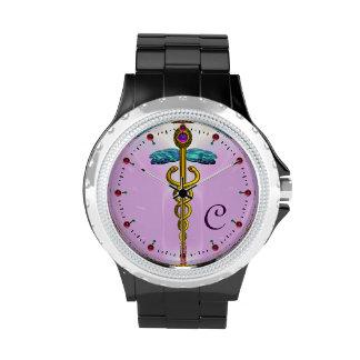 MONOGRAMA del CADUCEO del ORO, rosa, lila Relojes De Pulsera