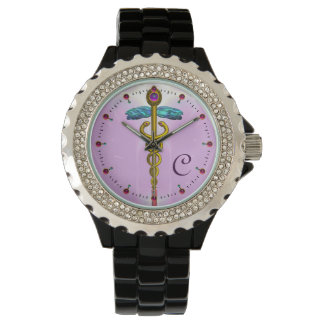 MONOGRAMA del CADUCEO del ORO, rosa, lila Relojes De Mano