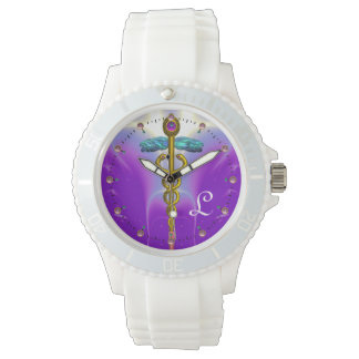 MONOGRAMA del CADUCEO del ORO, trullo púrpura Relojes De Pulsera