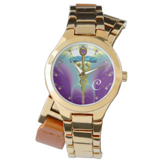MONOGRAMA del CADUCEO del ORO, verde púrpura Relojes De Pulsera