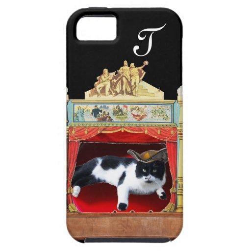 Monograma del CAT del TEATRO de la MASCARADA del iPhone 5 Fundas