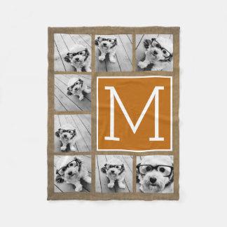 Monograma del collage de la foto - Kraft y naranja Manta De Forro Polar