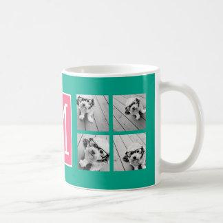 Monograma del collage del trullo y de la foto de taza de café
