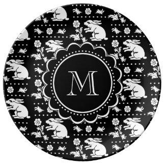 Monograma del conejo de conejito del vintage platos de cerámica
