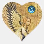 Monograma del corazón del ÁNGEL del ANUNCIO Etiqueta