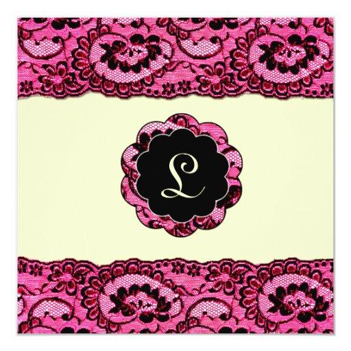 monograma del cordón 311-Pink y de los labios Invitación 13,3 Cm X 13,3cm