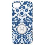 monograma del damasco de los azules marinos de iPhone 5 Case-Mate protectores
