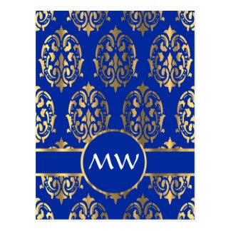 Monograma del damasco del azul de plata y real tarjeta postal