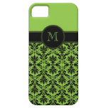 monograma del damasco del negro de la verde lima i iPhone 5 Case-Mate cárcasa