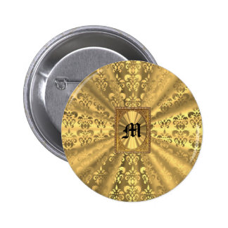 Monograma del damasco del oro pin redondo de 2 pulgadas