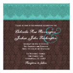 Monograma del damasco del trullo y del chocolate q invitaciones personales