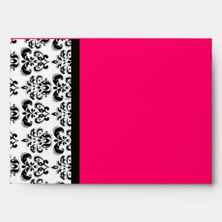 MONOGRAMA del DAMASCO, fucsia de rubíes rosado bla