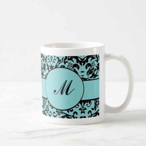 Monograma del damasco taza básica blanca