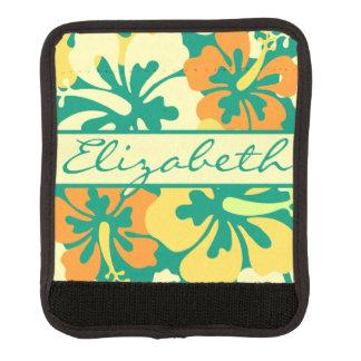 Monograma del estampado de flores del hibisco cobertura para asa de maleta