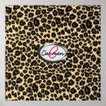 Monograma del estampado leopardo impresiones