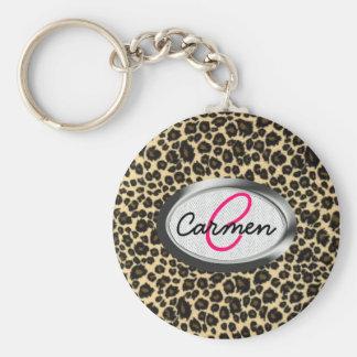 Monograma del estampado leopardo llavero redondo tipo pin